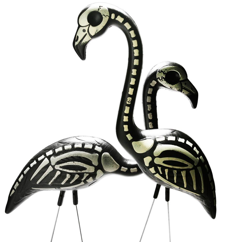 2 Halloween skeleton flamingos